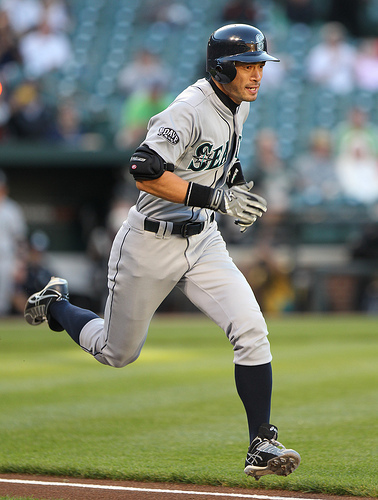 Seattle Mariners right fielder Ichiro Suzuki (51) in action during the Seattle Mariners at Baltimore Orioles game on May 11, 2011.